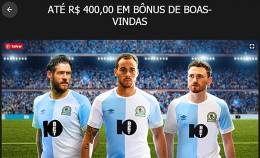 imagem mostrando bônus 10bet de boas-vindas até R$400,00