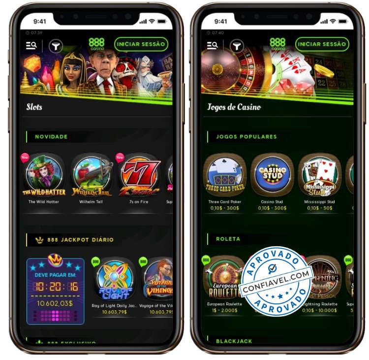 screenshot da tela mobile do 888