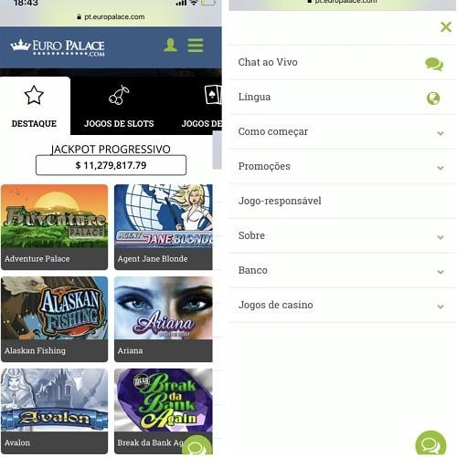 imagem do Euro Palace no celular
