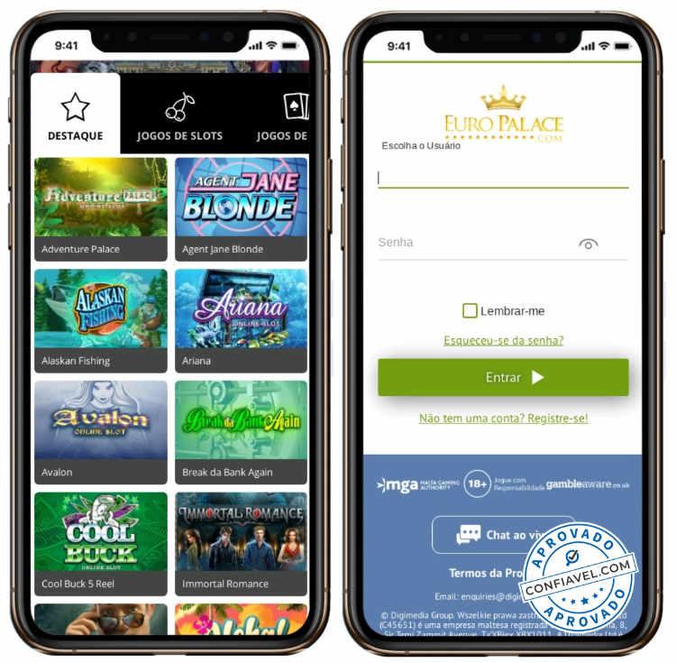tela de jogos e cadastro do Euro Palace no celular