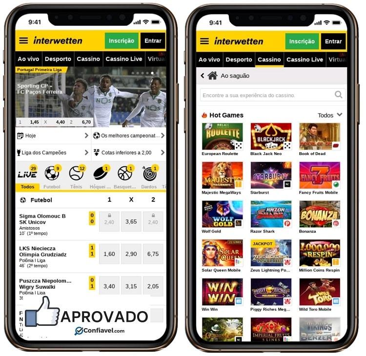 telas do interface no smartphone