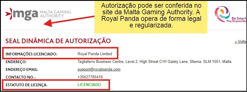 royal panda é confiável e licenciado