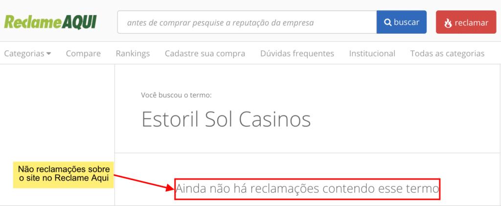 Não há reclamações do Estoril Cassino no principal portal de queixas utilizado no Brasil