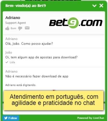 tela do chat Bet9 com atendimento em português