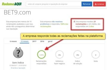 captura de tela mostra que Bet9 responde todas as queixas feitas em sites de conciliação