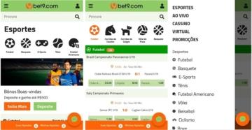 Telas do bet9 app