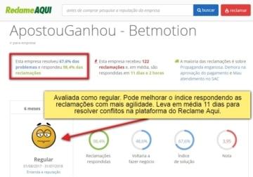 imagem com número de reclamações do Betmotion em site externo