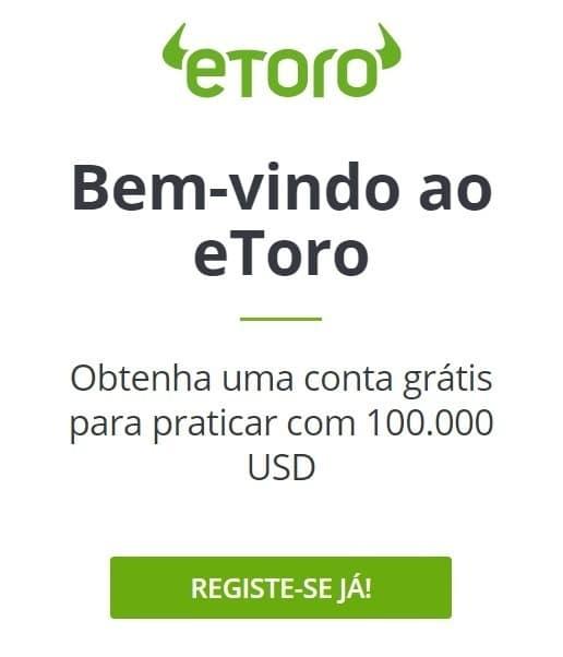 """eToro """"bem-vindo ao eToro"""" registre-se já"""