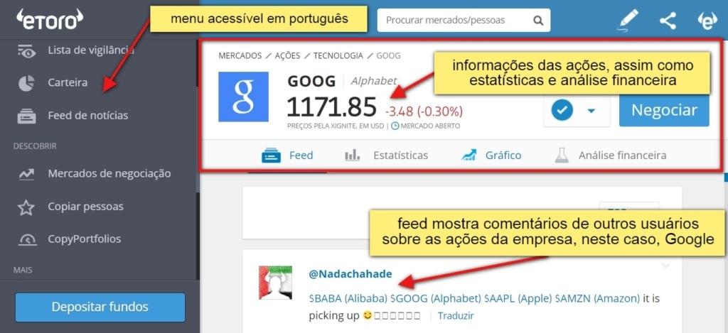 eToro como funciona - menu acessível em português