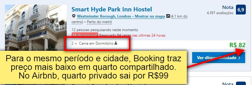 comparativo entre Booking x Airbnb