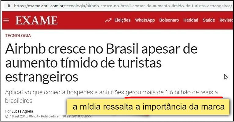 Imagem mostrando uma reportagem da revista Exame sobre o crescimento do Airbnb no Brasil