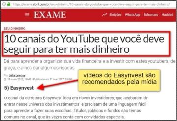 matéria do Exame cita vídeos do Easynvest como opção para novos investidores