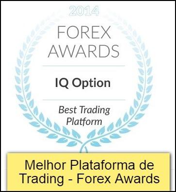 Selo da IQ Option de Melhor Plataforma de Trading - Forex Awards