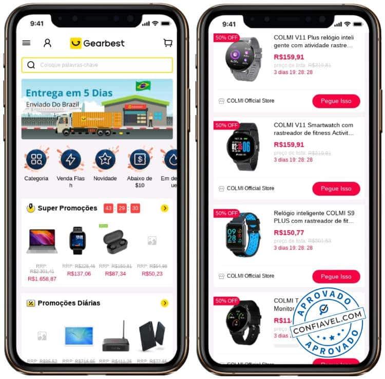 capturas de tela de compras no gearbest app