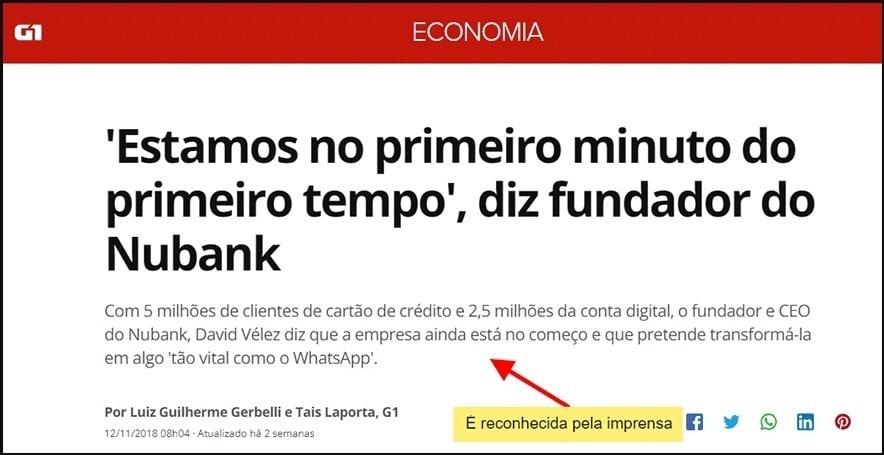 reportagem sobre o Nubank na imprensa