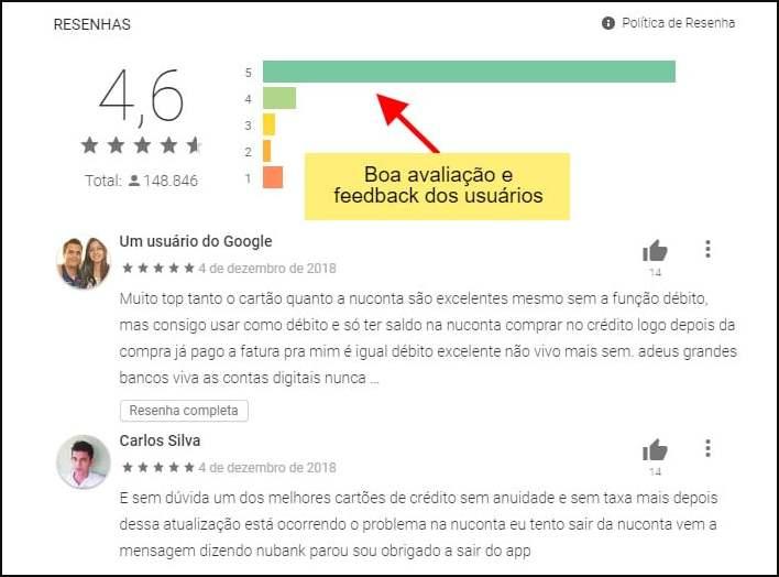 boa avaliacao e feedback dos usuários em plataformas de reclamações