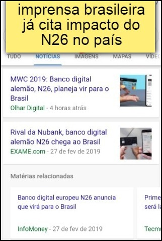 imprensa brasileira já cita impacto do N26 no país