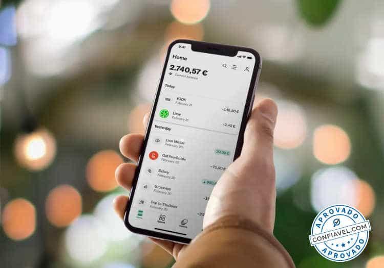 aplicativo n26 com transações de compra e saldo total