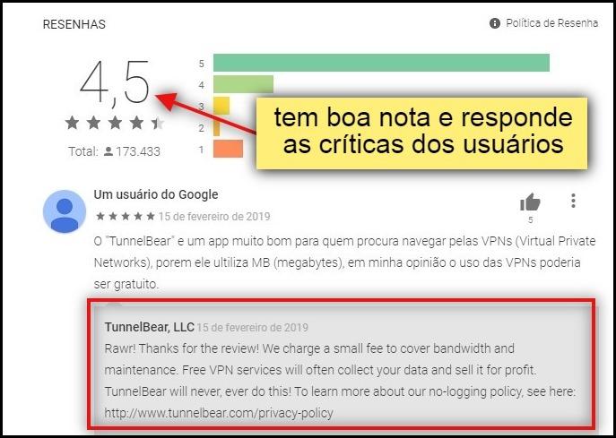 """""""tem boa nota e responde as críticas dos usuários"""""""