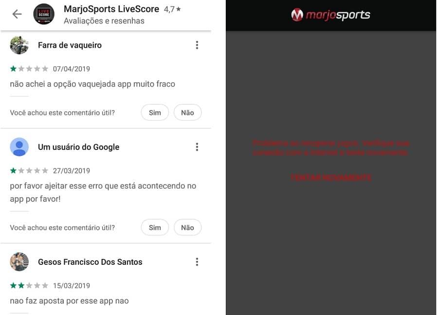 imagem mostra dificuldades dos usuários com app MarjoSports