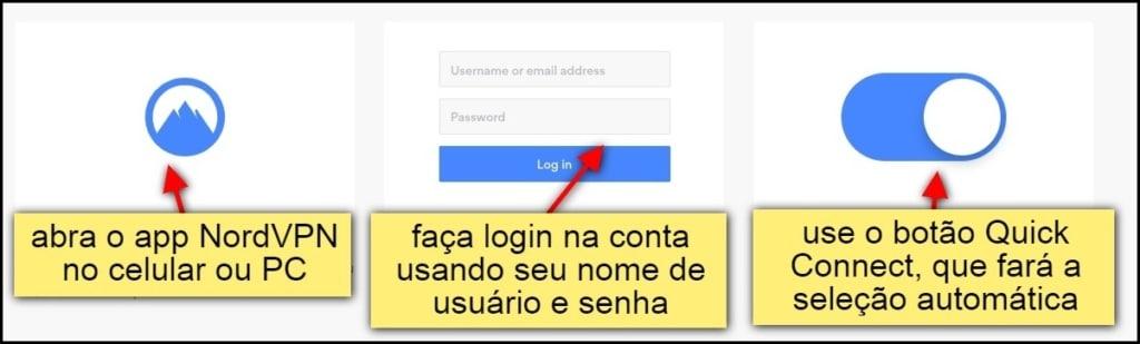 abra o app nord vpn no celular ou pc. faça login na conta usando seu nome de usuário e senha