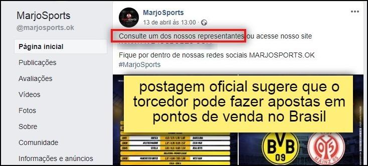 """""""postagem oficial sugere que o torcedor pode fazer apostas em pontos de venda no Brasil"""""""
