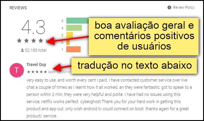 boa avaliação geral e comentários positivos de usuários