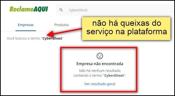 Não há queixas do CyberGhost em plataformas de reclamações