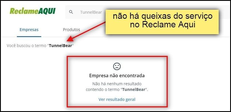 Não há queixas de usuários sobre o TunnelBear no principal portal de reclamações do Brasil