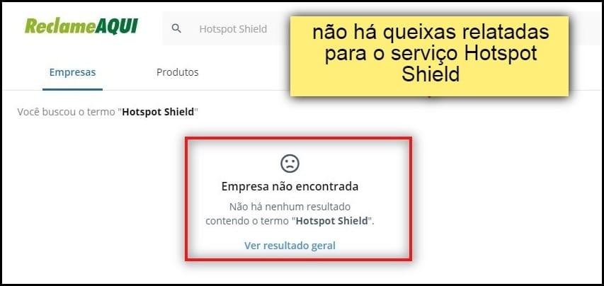 O portal de conciliação popular no Brasil ainda não tem queixas relatadas ao serviço Hotspot Shield.
