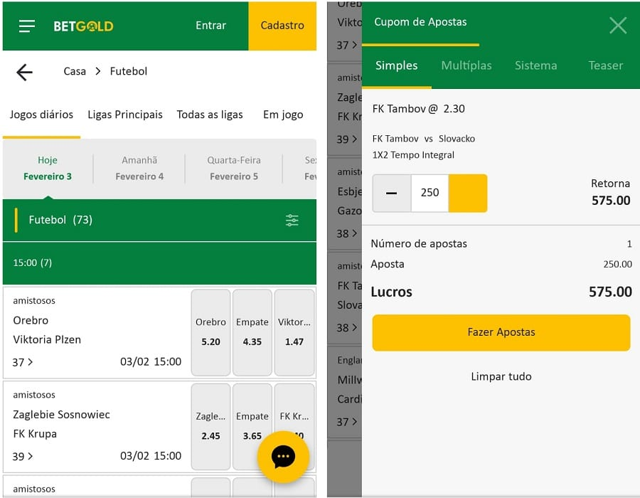 apostas no BetGold mobile