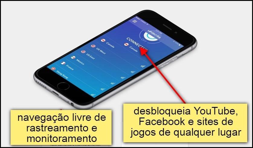 Windscribe tem navegação livre de rastreamento e monitoramento. Desbloqueia Youtube, Facebook e sites de jogos de qualquer lugar