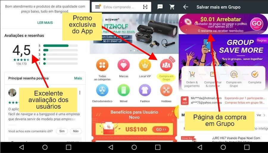 88ec06d15 Para incentivar a baixar o aplicativo, a loja oferece cupom Banggood de  desconto de 10% na primeira compra pelo app logo que você faz o seu  download.