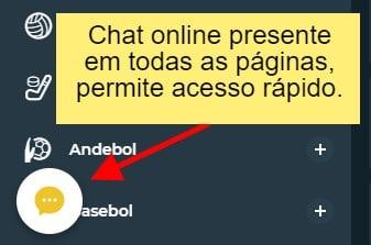 """imagem com o texto: """"chat online presente em todas as páginas, permite acesso rápido"""