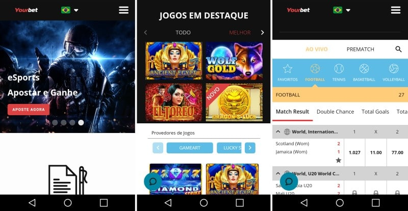 layout do Yourbet mobile