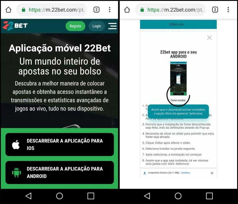 O download do app 22bet é explicado passo a passo ao usuário