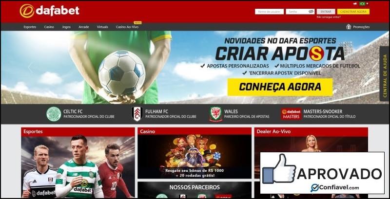 Homepage do site de apostas Dafabet