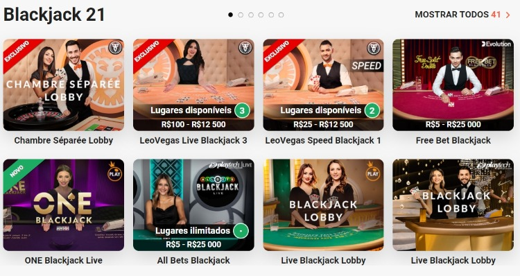 seleção de mesas de Blackjack