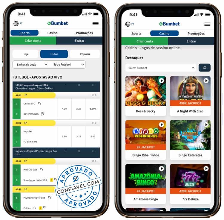 tela de apostas e cassino do bumbet no smartphone