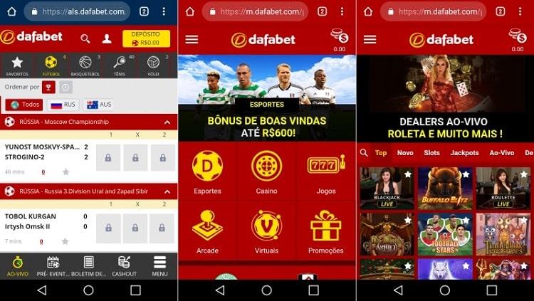 telas do ambiente mobile do dafabet