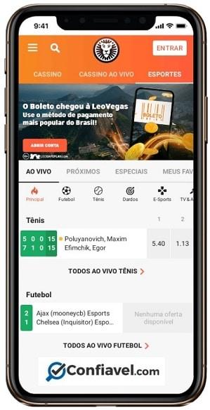 layout do LeoVegas Brasil no celular