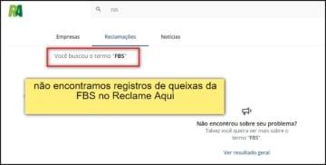 captura de site mostra que não há reclamações do FBS em portais de queixa