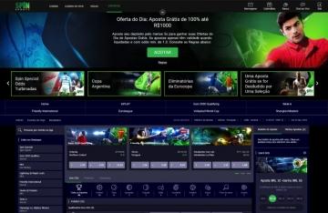 Homepage do Spin Sports Brasil, modo escuro