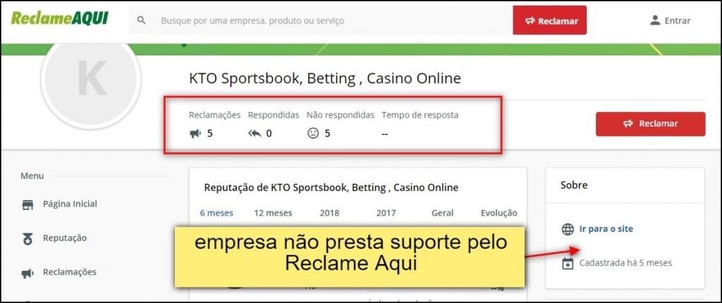KTO Brasil não responde usuários por plataformas externas, mesmo portais populares de reclamações