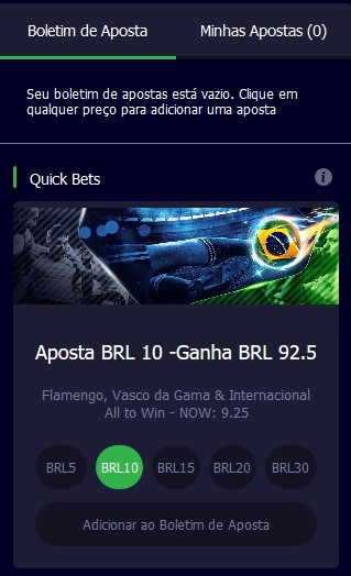 Boletim de apostas chamado de quick bets no Spin Sports