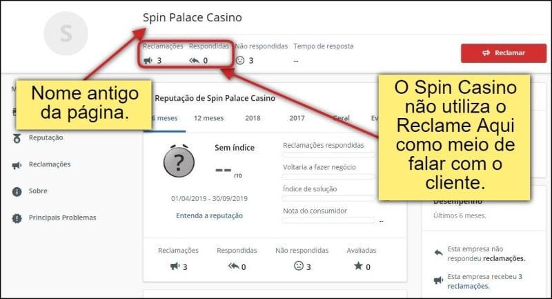 Página do Spin Casino na plataforma de conciliação está antigo. O Spin casino não utiliza a plataforma como meio de falar com o cliente