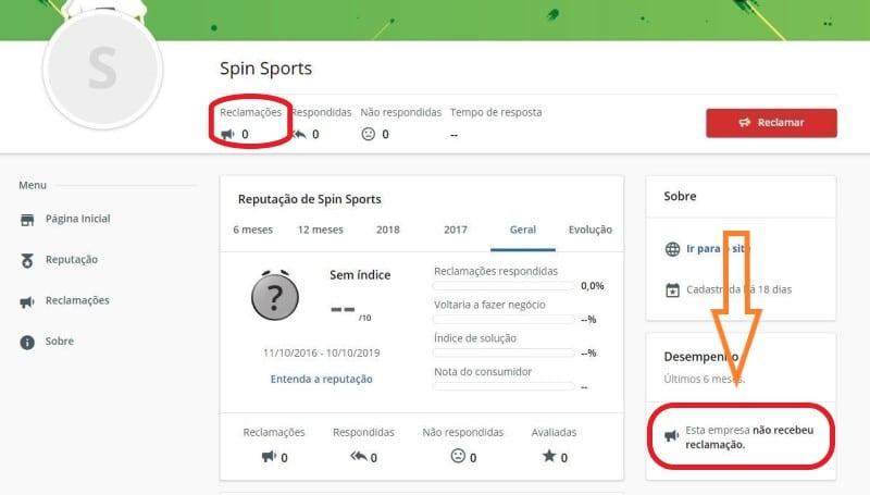 Spin Sports não tem reclamações no principal site de queixas do Brasil