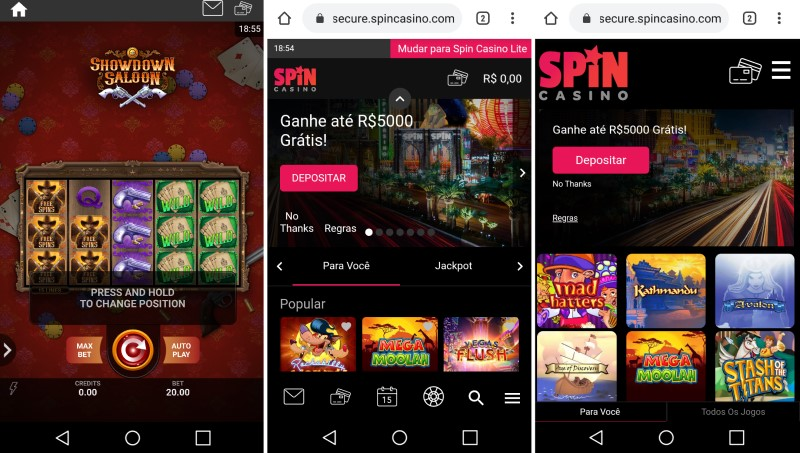 Site do Spin Casino no smartphone