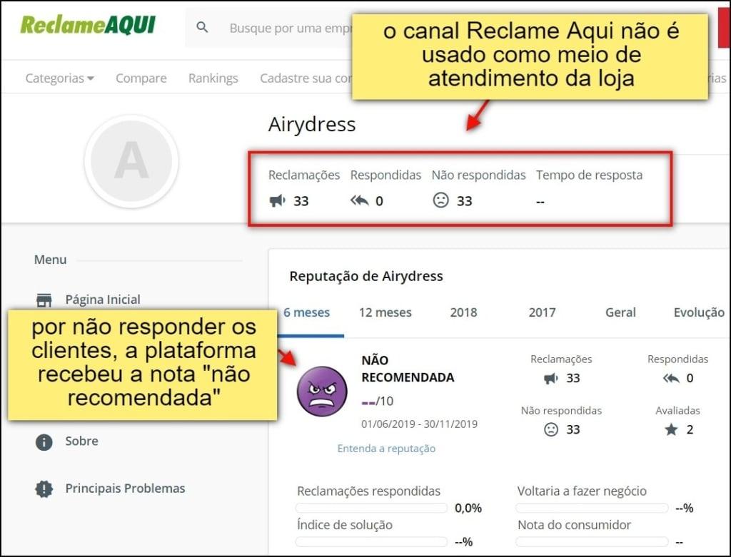 Airydress não responde usuários em plataformas externas