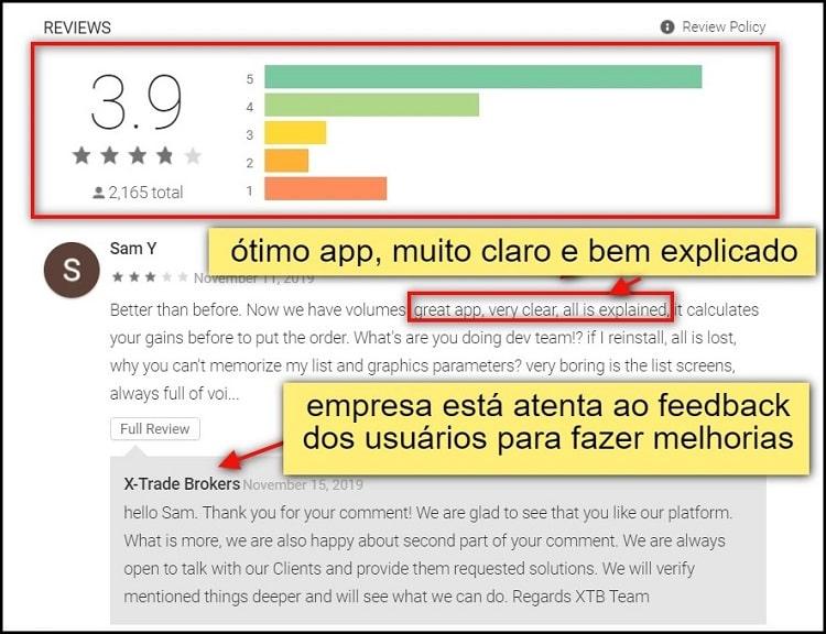 tela de avaliações do app xtb no playstore